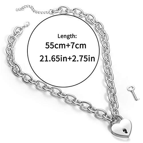 ZUOZUO Leder Halskette Punk Kette Halskette weiblich/männlich Gothic Kette Halskette Kragen Gothic Vorhängeschloss Anhänger Halskette