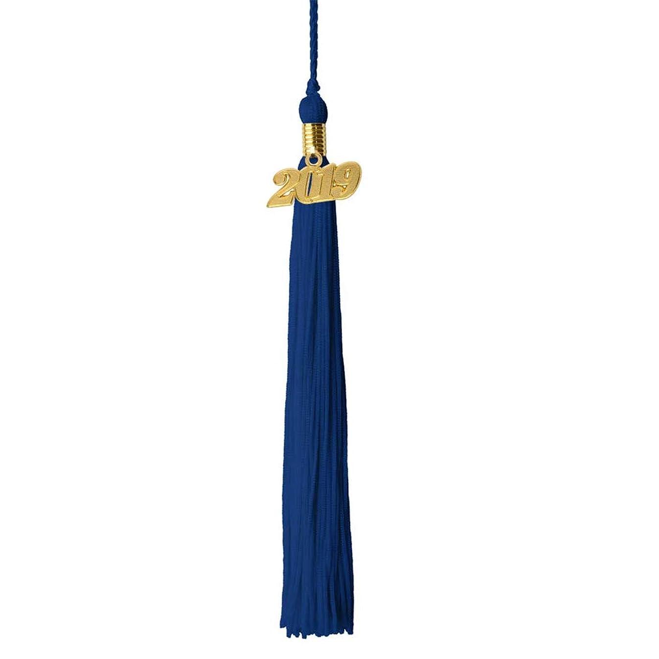 GraduationRoyal 9 inch Graduation Tassel with Gold 2019/2018 Year Charm (2019, Royal Blue)