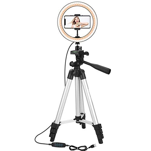 XIUWOUG Selfie Ring Light 10'Anillo De Luz LED con Trípode, Lámpara Circular De Videoconferencia USB con 3 Colores 10 Brillo para Youtube Video Selfie, Control Remoto Inalámbrico,Negro