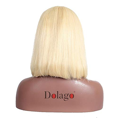 YHXQM Remy Human Hair Human Hair 360 Frontal Wig Bob Short Brazilian Hair Natural Straight Blonde Wig 150% Density with Baby Hair Natural Hairline African American Wig for Black Women with