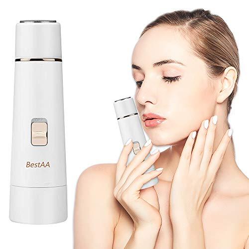 BestAA Damen Gesichtshaarentferner – tragbarer Damenhaarschneider für schmerzlose und effektive Entfernung von Pfirsich, Fuzz, Kinn- und Oberlippenhaaren weiß