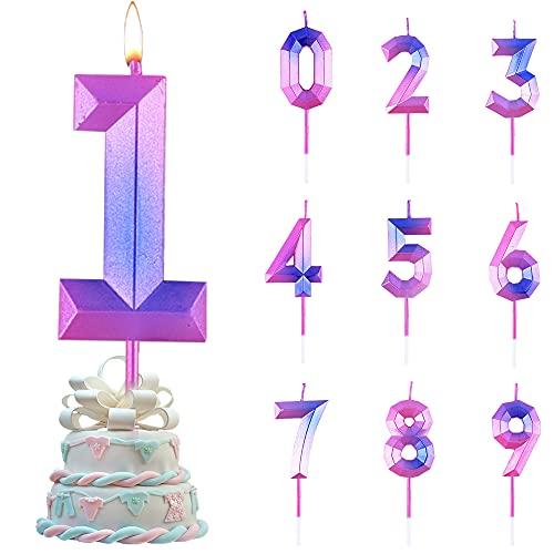 Candele di Compleanno Numbero,Numero Candele di Compleanno Glitter,Candele Torta Compleanno,per Feste di Anniversario di Matrimonio, Serate di Laurea (NO.1)