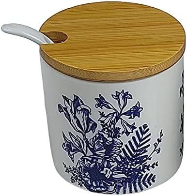 Azucarero de cocina con tapa de Bambú. Especiero de Cocina.Salero y azucarero de cocina decorado. Azucarero y Salero de diseño (Blanco, Azucarero)