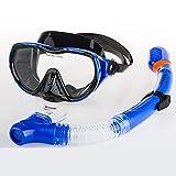 RABIGALA Juego de esnórquel con tubo de respiración y gafas de buceo, antivaho, antifugas, con tubo de respiración instalado, con válvula de respiración unidireccional (azul)