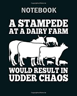 Notebook: humor cow design quote result in udder chaos - 50 sheets, 100 pages - 8 x 10 inches