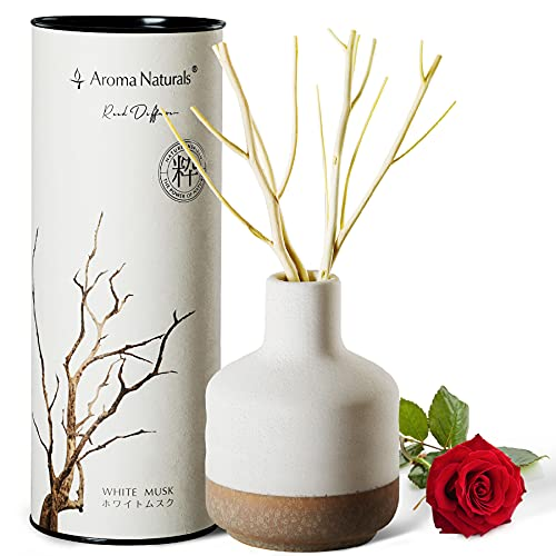 Aroma Naturals ルームフレグランス ホワイトムスクの香りリードディフューザー 陶器びん 芳香剤 ごまスティック 150 ml