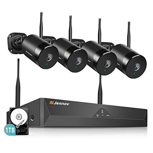 Jennov Kabellose Überwachungskamera Set mit Audio, 4CH NVR 5MP WLAN Sicherheitskamera mit Mikrofon HD Wasserdicht Außen Kamera IR Nachtsicht 1TB HDD