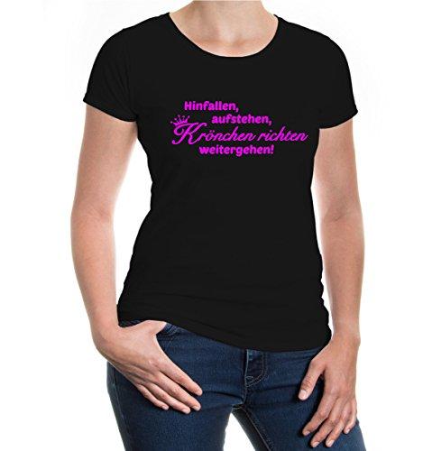 buXsbaum® Damen Girlie Kurzarm T-Shirt bedruckt Hinfallen, aufstehen, Krönchen richten, weitergehen | Sprüche Mädchen Funshirt | M black-neonpink Schwarz