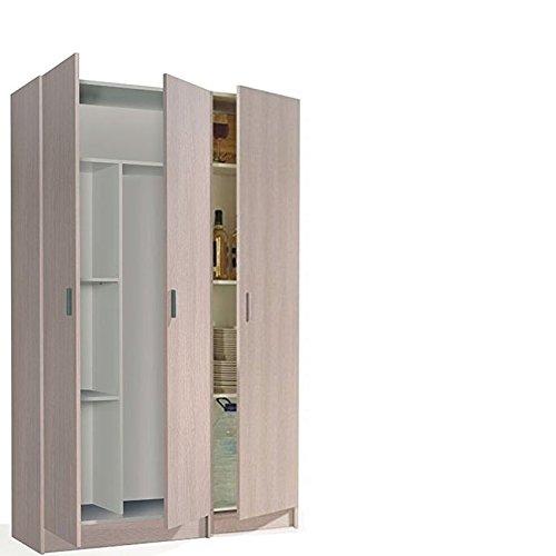 HABITMOBEL Conjunto de 2 Armarios con 3 Puertas Multiusos, Acabado Roble, Medidas Total : 180 x 110 Ancho x 37 cm de Fondo