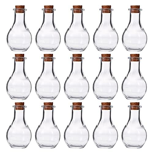 WINOMO 30 botellas de cristal con tapón de corcho para botellas de deseo, botella de cristal con dijes de cristal para manualidades, decoración de bodas