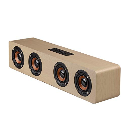 Wuty Altavoz inalámbrico Bluetooth Altavoz subwoofer de Alto Volumen for el hogar Transmisor de Madera Marrón Altavoz Bluetooth de Madera Viajes (Color : Yellow Wood Grain)
