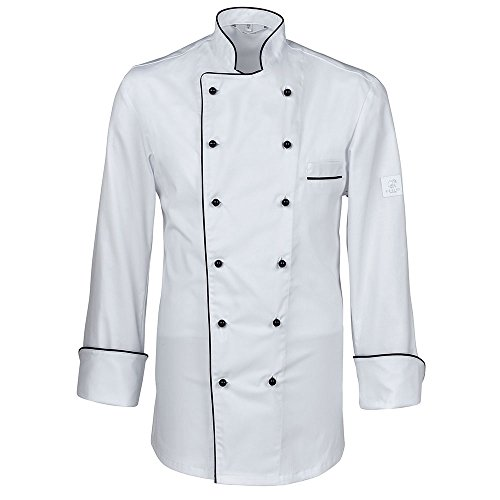 GREIFF Kochjacke mit Paspelierung | Regular Fit | Cuisine Premium | Style 5568 | Weiß | Weiß | Gr: M