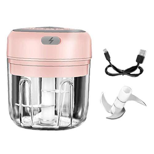 Rrunzfon El ajo Trituradora eléctrica sin Cable ajo Amoladora portátil Mini Food Chopper Prensa poderosa para la Pimienta del ajo del Chile Vegetal Nueces (Rosa, 250ml)