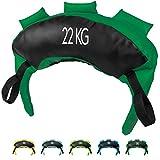POWRX Saco Búlgaro 22 kg - Bulgarian Bag Ideal para Ejercicios de Entrenamiento Funcional y potenciamiento Muscular (Verde Oscuro)