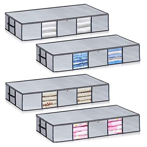 Bolsas de almacenamiento para debajo de la cama, tamaño grande [paquete de 4] organizadores de almacenamiento de gran capacidad,...