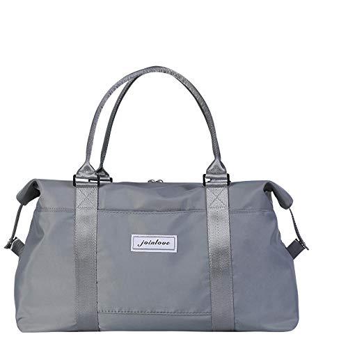 YAOUYYYSN Bolsa de viaje femenina, portátil, ligera, bolsa de almacenamiento de viaje de corta distancia, bolsa de equipaje con gran capacidad, color gris (puede convertirse en geezog) grande