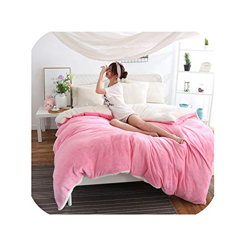 Nice warm Ab Side Winter Duvet Cover Berber Fleece Quilts Cover Lamb Bedding Home Textile 1Pc Solid Warm Comforter Cover Velvet Bed Cover,Purple Duvet Cover,240X220Cm-PinkWhite-180x210cm