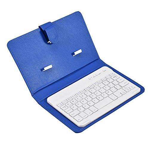 Tastiera Bluetooth wireless universale con custodia protettiva, tastiera portatile e supporto con custodia in pelle PU 2-in-1 per affari, adatta per telefoni Bluetooth da 4,5    - 6,8   (blu)