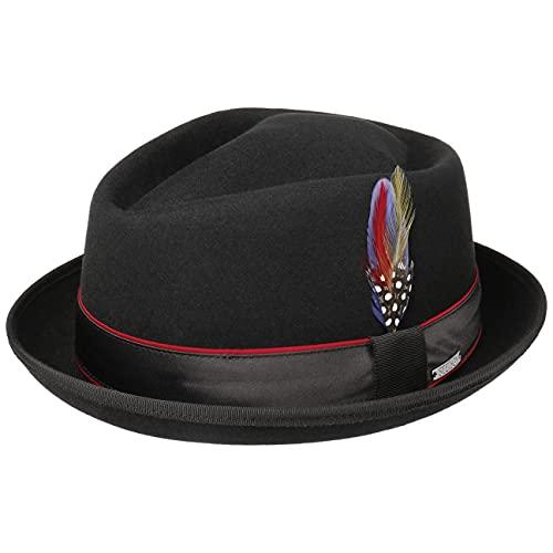 Stetson Sombrero de Lana Cataco Diamond Mujer/Hombre - Trilby Pork pie otoño/Invierno - L (58-59 cm) Negro