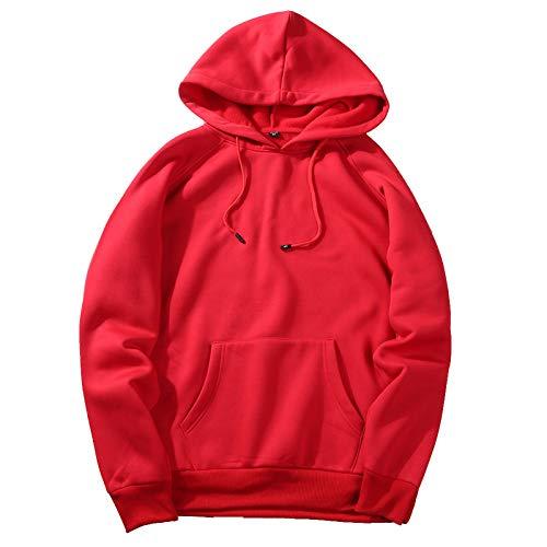 Elonglin Sweat-Shirt Homme Sweats à Capuche Sportswear Pull Over Coupe Lâche Couleur Unie (Rouge EUR M)