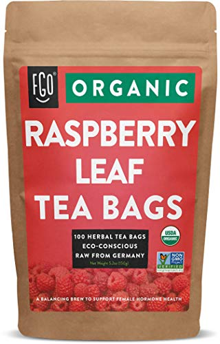 Organic Red Raspberry Leaf Tea Bags | 100 Tea Bags | Eco-Conscious Tea Bags in Kraft Bag | Raw from Germany | by FGO