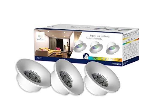 Preisvergleich Produktbild tint von Müller-Licht 3er Set smarte LED-Spotlights white+color: Weißtöne von superwarmweißem Licht bis hin zu aktivierendem Tageslicht sowie farbiges Licht (bis zu 16 Mio. Farben)