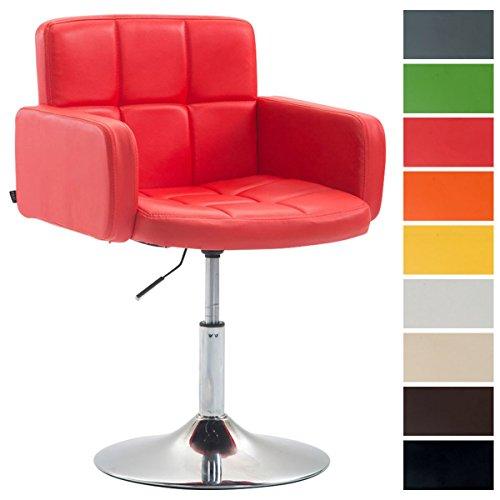 Design Loungesessel LOS Angeles mit Kunstlederbezug | Höhenverstellbarer Esszimmerstuhl mit Trompetenfuß erhältlich, Farbe:rot