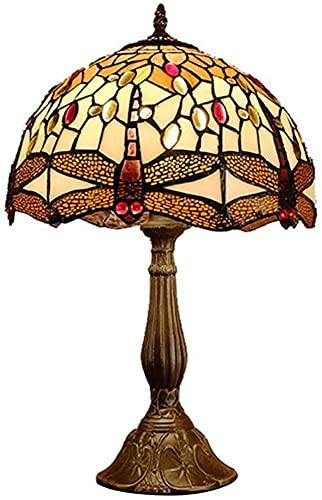 CMMT Lámpara de escritorio estilo europeo retro sala de estar estudio dormitorio lámpara libélula decoración mesa luz 30 * 48 cm