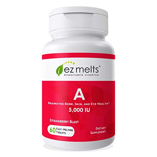 EZ Melts A as Retinol, 5,000 IU, Immune Support, Sublingual Vitamins, Vegan, Zero Sugar, Natural Strawberry Flavor, 60 Fast Dissolve Tablets