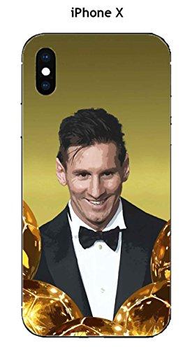 Onozo - Carcasa para Apple iPhone X, diseño de messi con el balón de oro