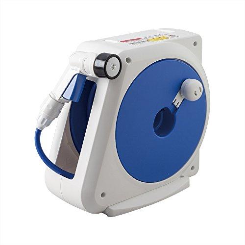 Takagi Kompakte Schlauchtrommel mit Wandhalterung | | 4 Strahlarten | 100% Dicht & Tropfsicher | Blau/Weiß/Schwarz, 15 m, 34.3 x 16.8 x 30.2 cm