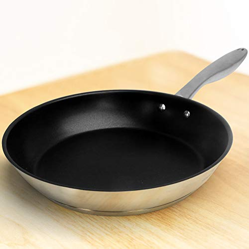HOMICHEF 11 Inch Frying Pan Nonstick - Frying Pans Induction Glass Compatible - Nickel Free Stainless Steel Omelet Pan 11 Inch - Nonstick Fry Pan PFOA Free - Teflon Frying Pan Omlette Pan