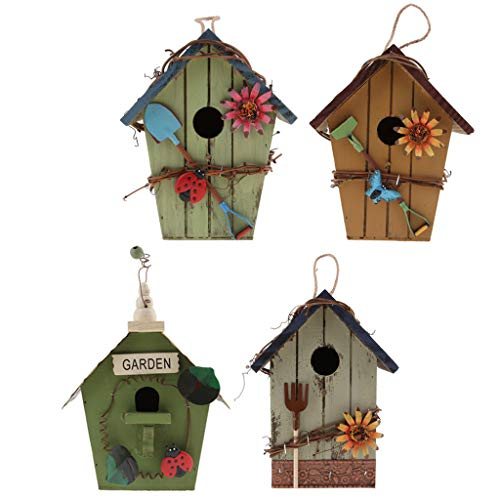B Blesiya 4 Piezas Casas para Pájaros, Comederos para Aves, Pajarera Madera Exterior para Periquitos - 4 Pcs