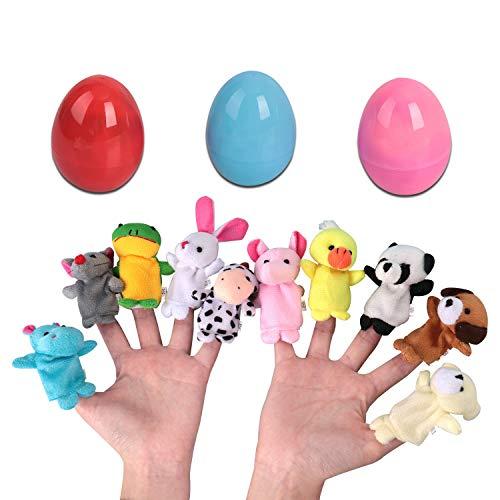 OYEFLY Easter Eggs Baby Fingerpuppen Familie Fingerpuppen Set,für Baby und Kinder 10 stücke Kinder Plüsch Tier Handpuppen Set Plüsch Tier Set für Kinder Geschichte Zeit Familienmitglieder