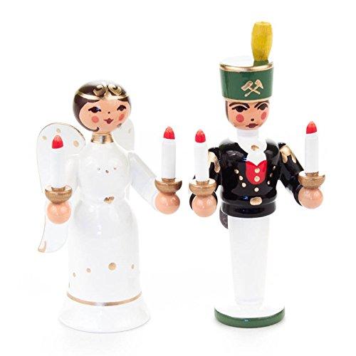 Miniatur-Engel und Bergmann mit Lichtern - Dregeno Erzgebirgische Holzkunst - Artikel 221/015
