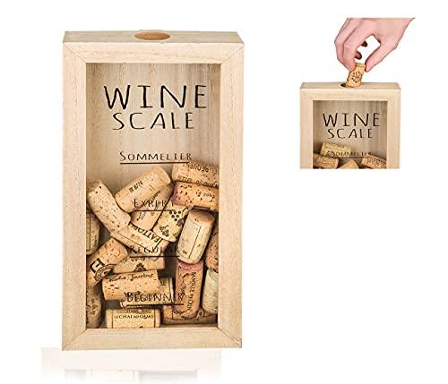 Smart Planet Caja de colección de corchos, caja de corcho para guardar tapones de vino, chapas de botella, divertida caja de corcho rústica para amantes del vino y amantes del vino