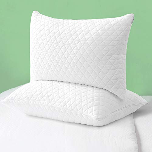 Bed Pillow Shredded Memory Foam Pillows 2 Pack Cooling Adjustablefor Sleeping Good for Side and Back Sleeper with Washable Removable Bamboo Cover (Standard Size,Set of 2)