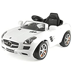 OFFICIALLY LICENSED - official Mercedes-Benz licensed children's electric car with foot operated pedal control with max speed of 2. 5 km/h REALISTIC DESIGN- Quality design is a perfect replica of the Mercedes SLS which features authentic Mercedes bra...