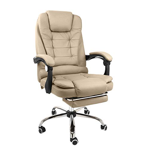 Halter Reclining Leather Office Chair; Modern Executive Adjustable Rolling Swivel Chair Headrest with Retractable Footrest; Tan