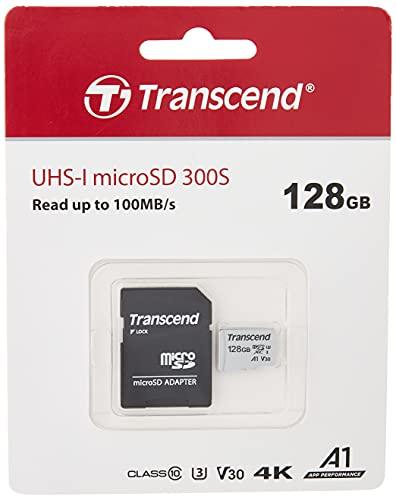 Transcend Highspeed 128GB micro SDXC/SDHC Speicherkarte (für Smartphones, etc. und Digitalkameras) / 4K, U3, V30, A1, UHS-I – TS128GUSD300S-A (mit Adapter)