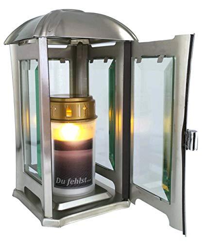 Grablaterne, Grablampe, Grablicht aus Edelstahl mit Facettenglasscheiben inkl. LED-Grablicht 24 cm … (matt gebürstet)