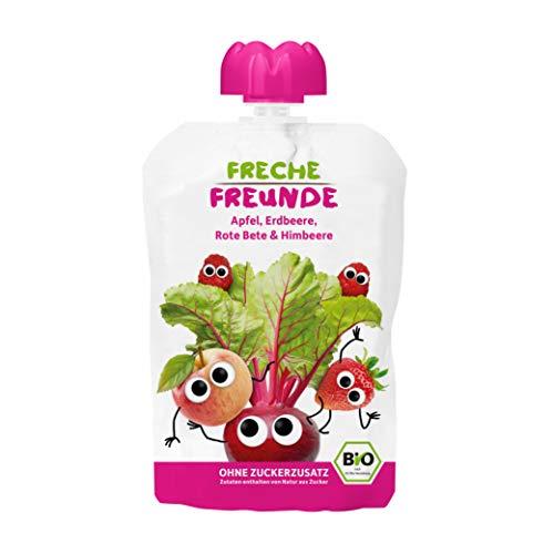 FRECHE FREUNDE Bio Quetschie Apfel, Rote Bete, Erdbeere & Himbeere, Fruchtmus im Quetschbeutel für Babys ab 1. Jahr, glutenfrei und vegan,  6er Pack (6 x 100 g)