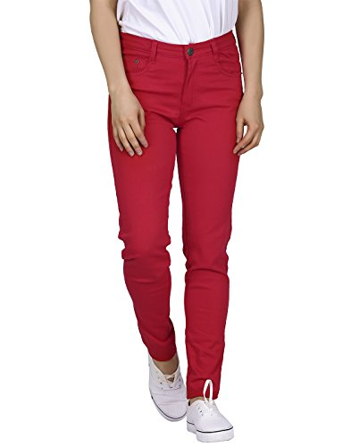 HDE Women's Mid-Rise Stretchy Denim Slim Fit Skinny Jeans (Red, Small)