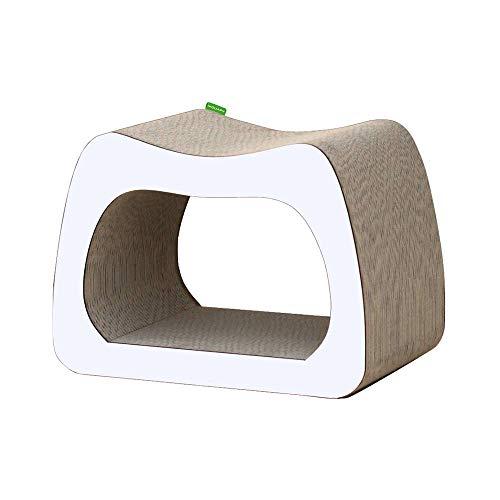 Wouapy - Griffoir Déco Kaverno pour Chat - Griffoir Entièrement en Carton - Design Moderne & Epuré - Larges Surfaces en Carton à Griffer - Pensé pour Le Confort des Chats - Blanc