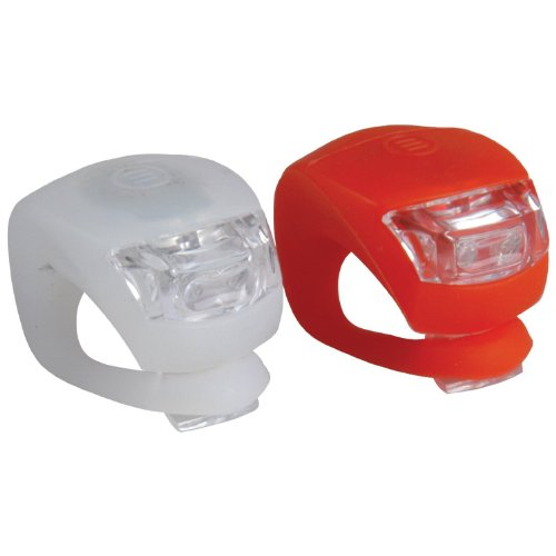 Stonges LED Clip-On Silicon Band Luces de bicicleta 2 Pack Blanco & Rojo