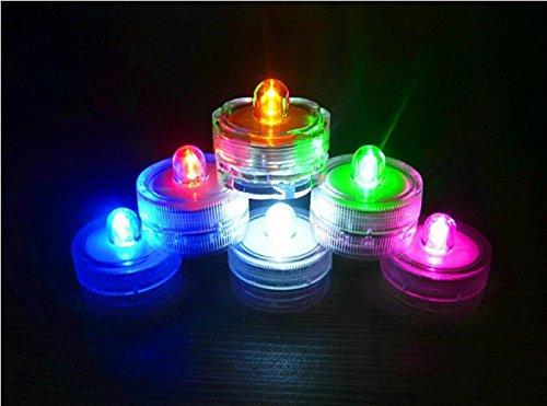 Lot de 12 bougies LED submersibles avec changement de couleur Bougies LED sans flamme Décoration multicolore sûre et étanche, Plastique, 12er Set