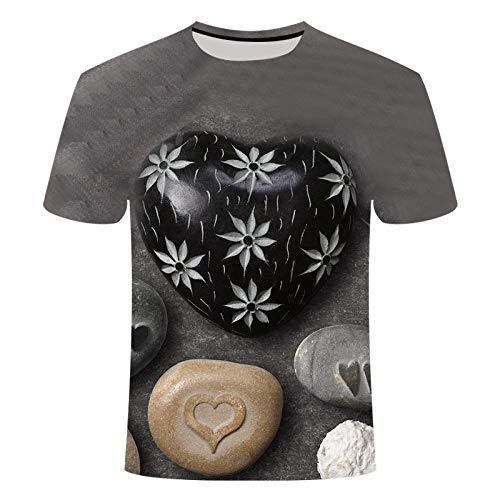CHWEI Knitted Hat 3D-Druck Liebessteinmuster Männer Und Frauen Sommer Langarm Kurzarm-T-Shirt Schweiß Schnelltrocknender Outdoor-Freizeit-M