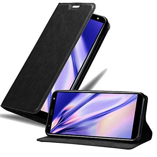 Cadorabo Hülle für LG K40 in Nacht SCHWARZ - Handyhülle mit Magnetverschluss, Standfunktion & Kartenfach - Hülle Cover Schutzhülle Etui Tasche Book Klapp Style