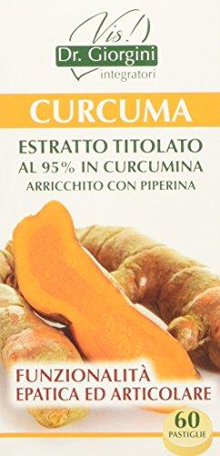 Dr. Giorgini Integratore Alimentare, Monocomponenti Erbe Curcuma Estratto Titolato al 95{cfdd67fcc7e6704e9d1793e95d72cc8796672999a3bbe7822e435957cd69f1a6} in Curcumina Arricchito con Piperina Pastiglie - 30 g