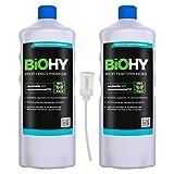 BiOHY Limpiacristales profesional (2 botellas de 1 litro) + Dosificador   Limpiador concentrado de vidrios, para de ventanas   Limpieza optima de vidrios, ventanas y espejos (Profi Fensterreiniger)